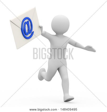 The man with correspondence on white background. 3d rendering
