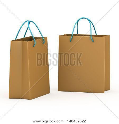 Two packets on white background. 3d rendering