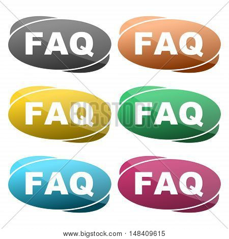 FAQ information sign icon, six colors on white background