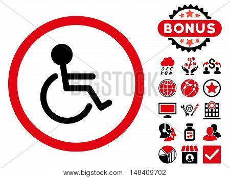Handicapped icon with bonus design elements. Vector illustration style is flat iconic bicolor symbols, intensive red and black colors, white background.