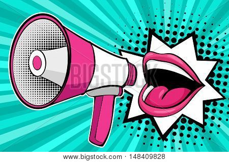 Sexy Open Female Mouth And Megaphone Screaming. Vector Background In Comic Retro Pop Art Style.