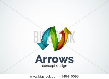 Direction arrows logo template, abstract elegant business icon