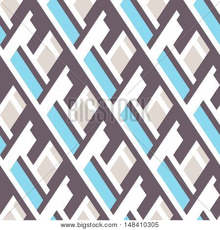 Vector geometric seamless pattern with lines and overlapping shapes in blue, grey, pastel color. Modern bold print with diamond shape for fall winter fashion. Abstract dynamic tech op art background