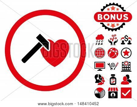 Heart Hammer icon with bonus pictogram. Vector illustration style is flat iconic bicolor symbols, intensive red and black colors, white background.