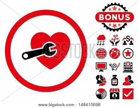Heart Surgery icon with bonus elements. Vector illustration style is flat iconic bicolor symbols, intensive red and black colors, white background.