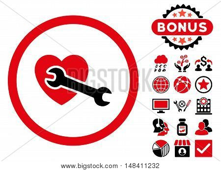 Heart Surgery icon with bonus design elements. Vector illustration style is flat iconic bicolor symbols, intensive red and black colors, white background.