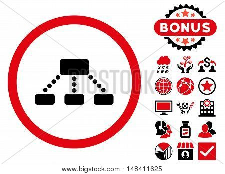 Hierarchy icon with bonus images. Vector illustration style is flat iconic bicolor symbols, intensive red and black colors, white background.