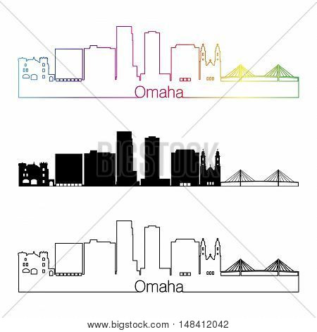 Omaha skyline linear style with rainbow in editable vector file