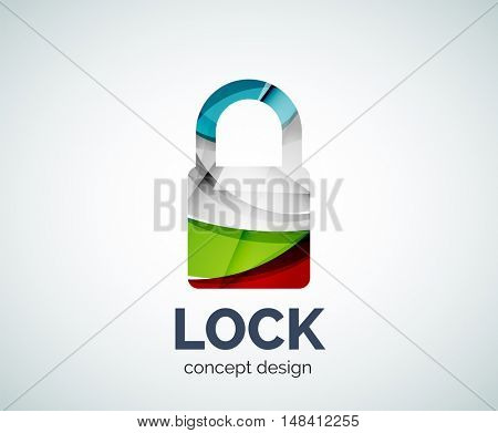 Lock logo business branding icon, created with color overlapping elements. Glossy abstract geometric style, single logotype