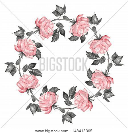 Floral wreath, isolated on white background. Watercolor roses 4