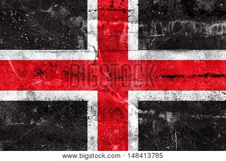 Flag Of Durham, England, Uk, Painted On Dirty Wall