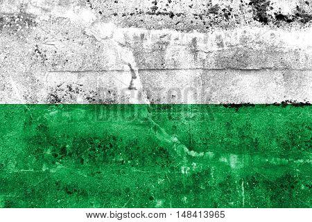Flag Of Esmeraldas, Ecuador, Painted On Dirty Wall