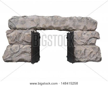 Old Neolithic gate isolated on white background.