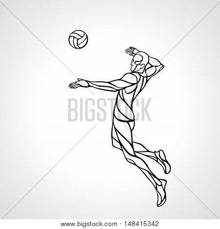 Volleyball player attacking the ball - black and white outline vector silhouette. Modern simple volleyball logo. Eps 8