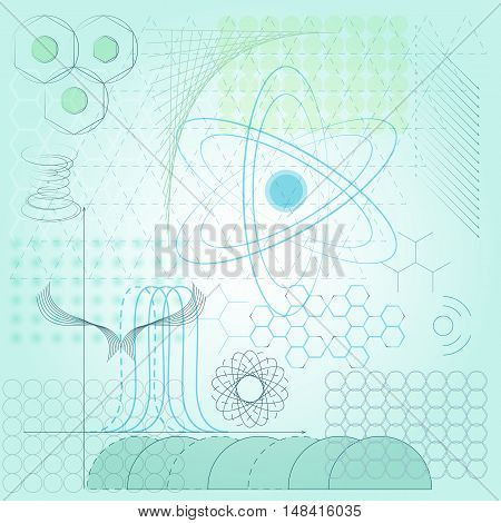 Vector background with different scientific symbols and elements.