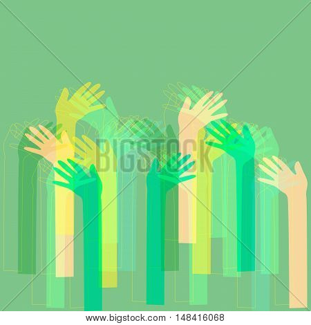 Hand drawn vector background with colorful hands outlines.
