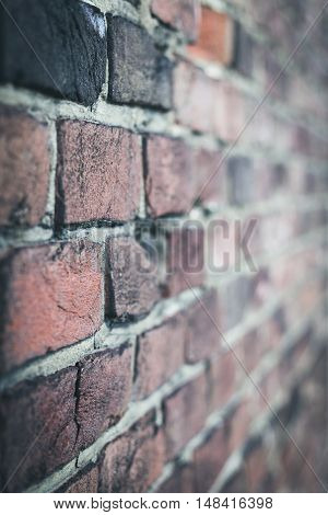 Background of old red vintage brick wall
