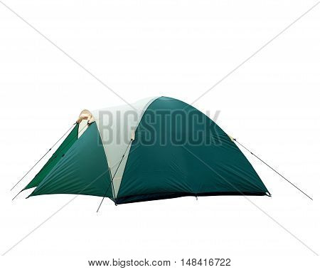 Green tourist tent isolated on white background