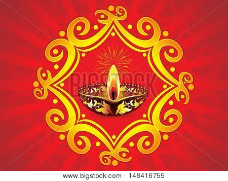 abstract artistic red diwali background vector illustration