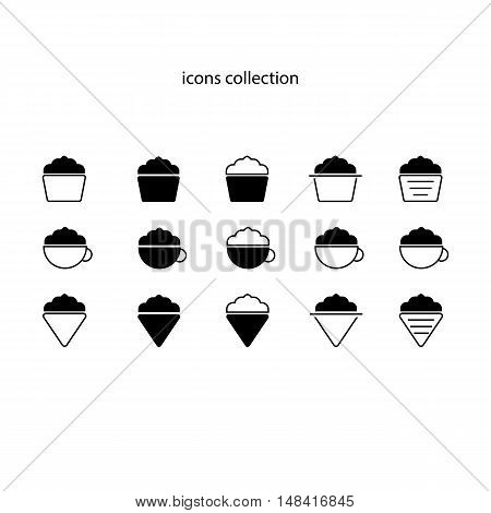 Collection of icons for coffee shop. Coffee cappuccino ice cream cake