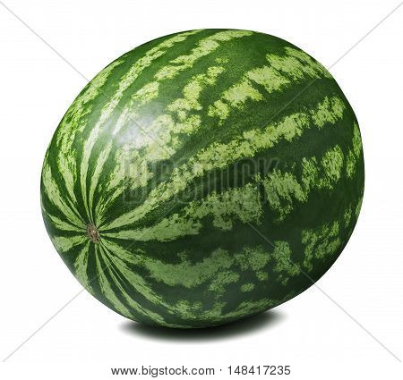 Whole striped round watermelon isolated on white background as package design element