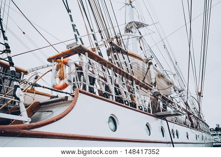 Old white frigate in moorage in Begren Norway