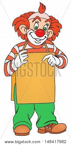 Illustration of Clown with blank board on him