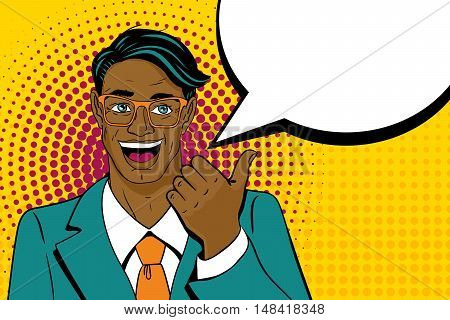 Young Surprised Afro American Man With Open Mouth Pointing Finger With Speech Bubble In Pop Art Retr