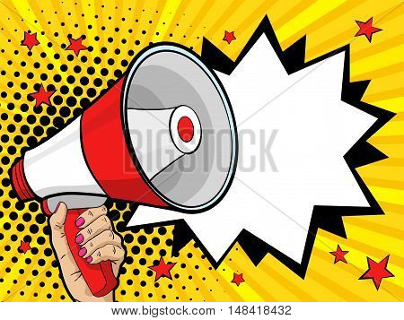 Female hand with megaphone. Vector background in comic retro pop art style.