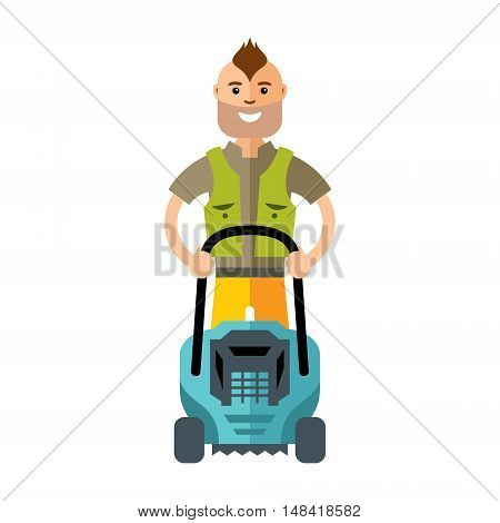 Gardener with equipment for cutting grass. Isolated on white background
