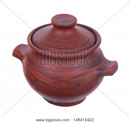 Clay pot with lid isolated on white background