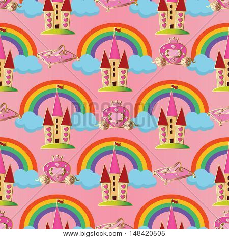 Pink vector seamless pattern background  illustration with fairytale princess castle,magic carriage,crystal shoe, colorful rainbow, blue clouds for little girls who dream of being princesses