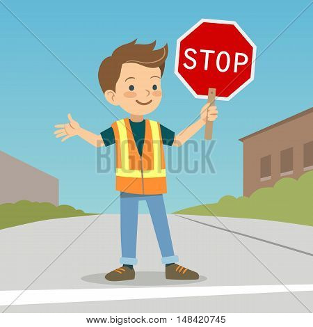Vector hand drawn character cartoon illustration of a smiling boy in crossing guard uniform standing on urban street with stop sign in hand. School safety patrol, safe street crossing for children.