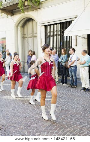 CASALE MONFERRATO ITALY - SEPTEMBER18 2016: Majorettes in parade in Casale Monferrato Italy for the