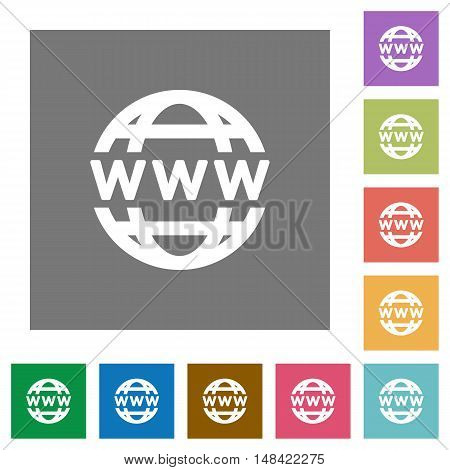 WWW globe flat icon set on color square background.