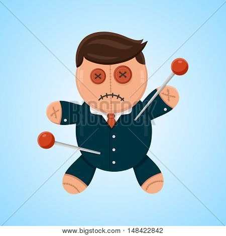 Businessman or politician doll voodoo vector flat isolated illustration. Political or business competitor concept