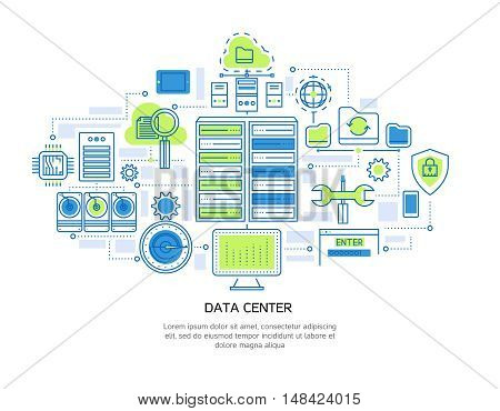 Datacenter linear design including server infrastructure and information security cloud storage and microchip system vector illustration