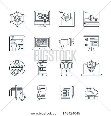 Digital marketing linear icons set with social media payment system cloud services customer feedback isolated vector illustration