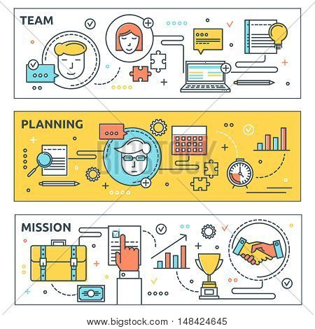 Coworking horizontal linear banners set with professional team business planning and company mission isolated vector illustration