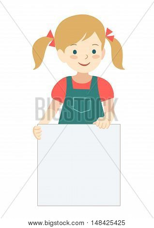Vector hand drawn cartoon character illustration of a cute little girl with pigtails standing holding up a blank sign. Editable text sign template design element in contemporary flat vector style.