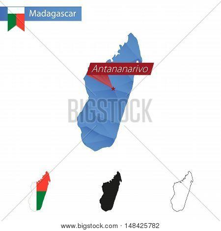 Madagascar Blue Low Poly Map With Capital Antananarivo.