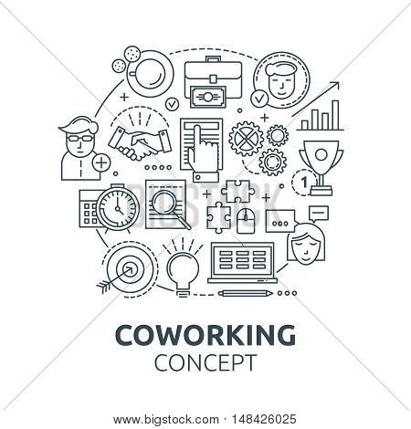 Coworking round composition with team and workplace goals and relationships report and achievements award vector illustration