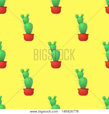 Green Cactus Seamless Pattern on Yellow. Houseplant Background.