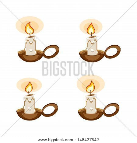 Cartoon candle in a holder with burning animation