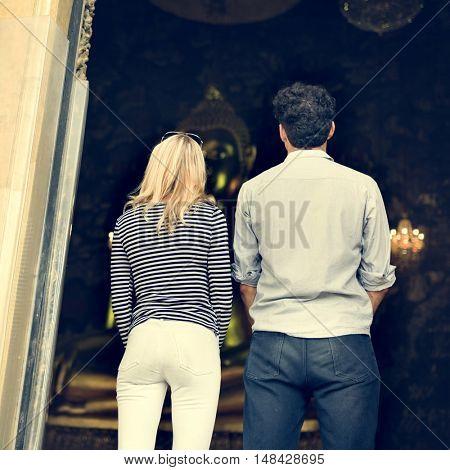 Break Couple Destination Explore Peace Summer Concept