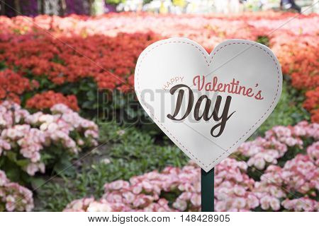 """happy Valentine's Day"" Banner In The Flower Graden."