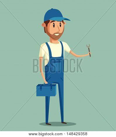 Car repair. Car service. Vector cartoon illustration. Mechanic repairs car in the garage. Auto repair shop. Funny mechanic. Professional worker.