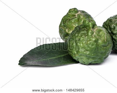 The Close-up kaffir lime on white background