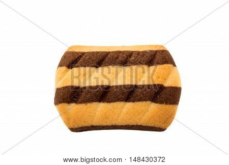 striped brown cookies on a white background