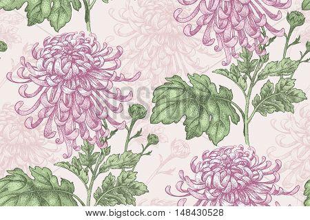 Vector seamless floral pattern. Japanese national flower chrysanthemum. Illustration luxury design textiles paper wallpaper curtains blinds.